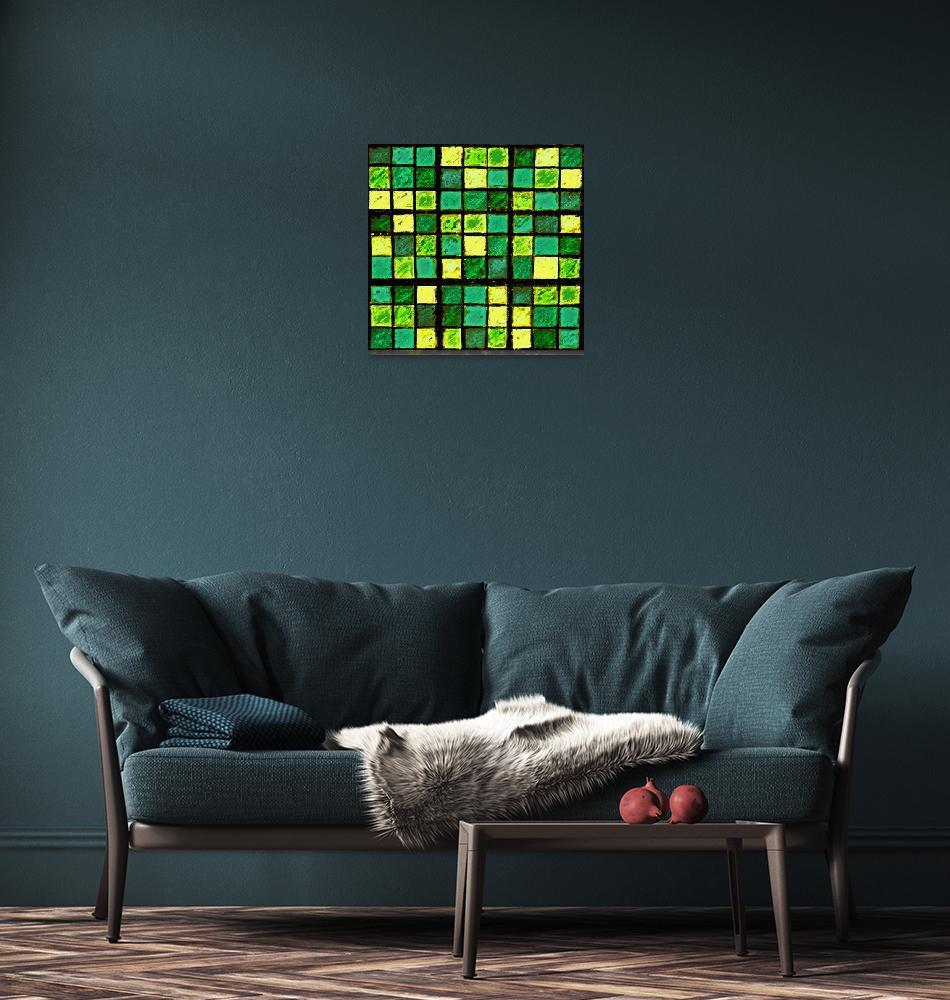 """Sudoku Abstract Green Yellow""  (2012) by KsWorldArt"