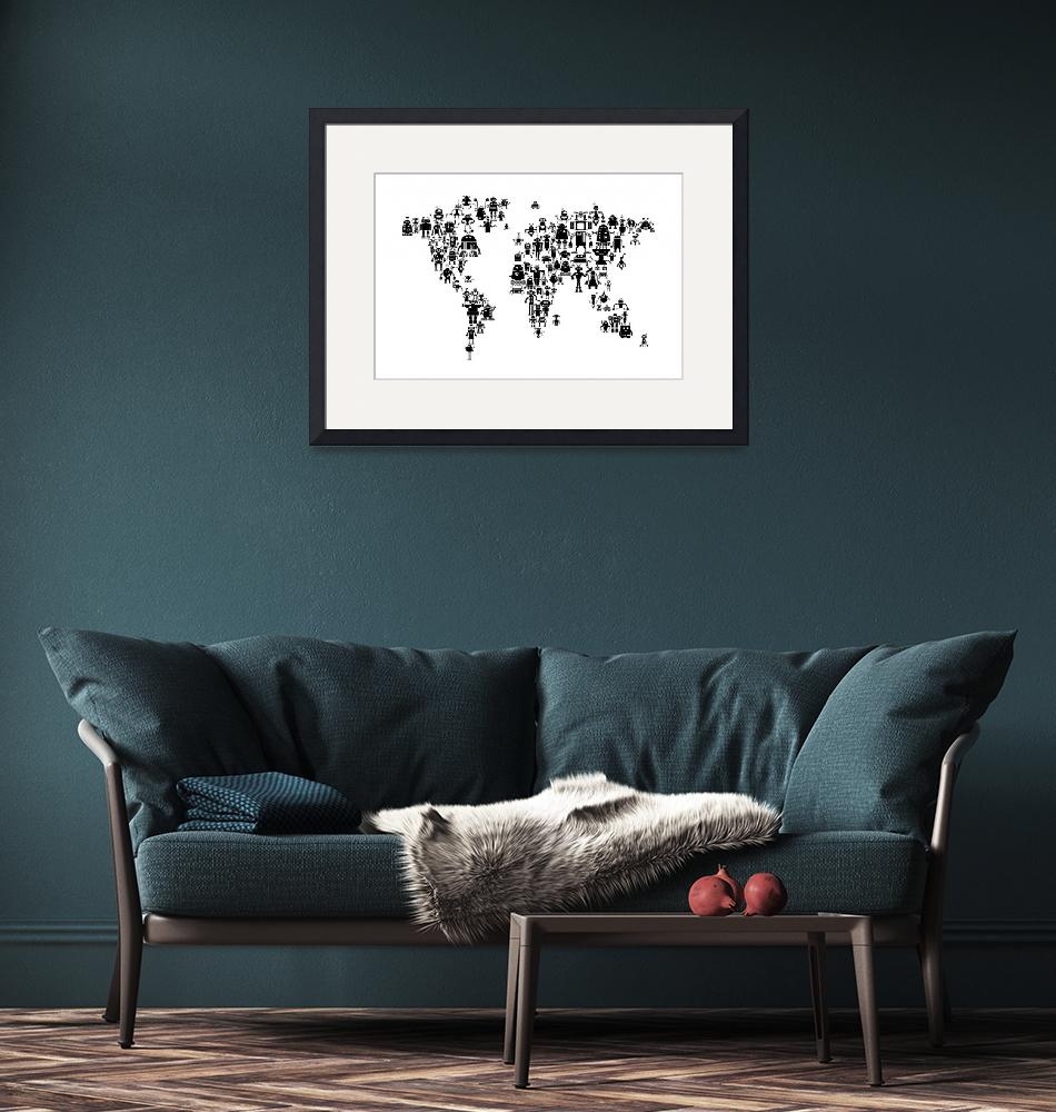"""Robot Map of the World Map""  (2015) by ModernArtPrints"