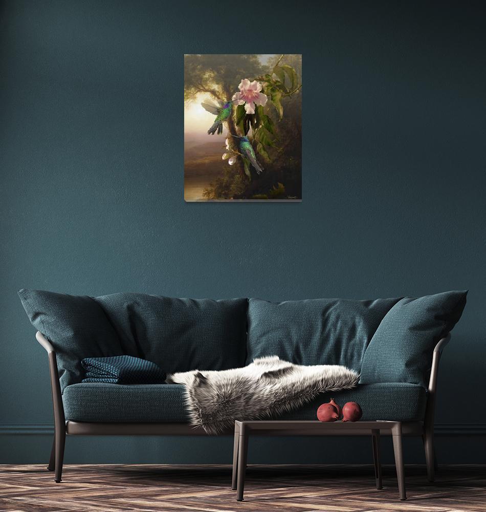 """Violetear Hummingbirds and Trumpet Flower""  (2017) by spadecaller"