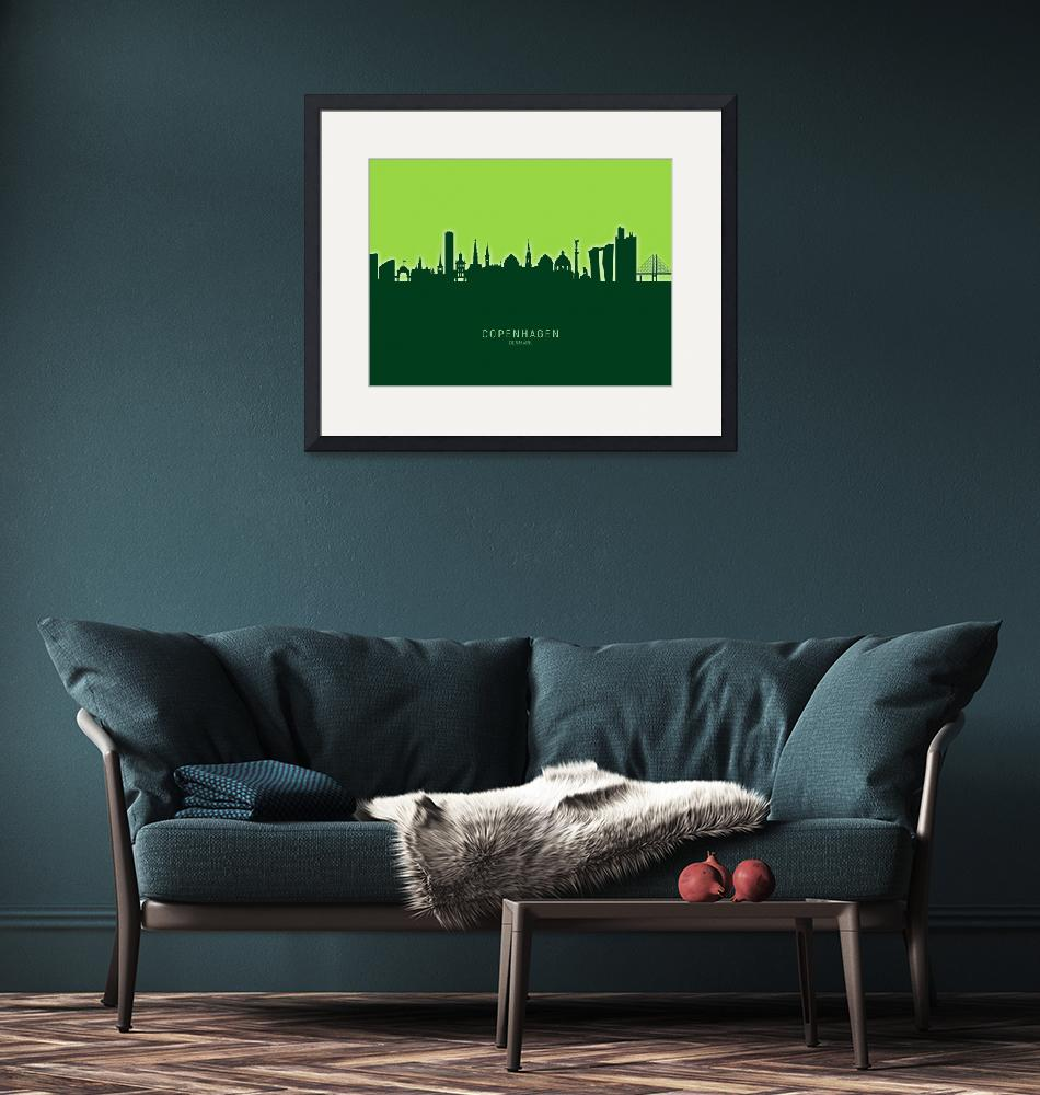 """Copenhagen Denmark Skyline""  (2020) by ModernArtPrints"
