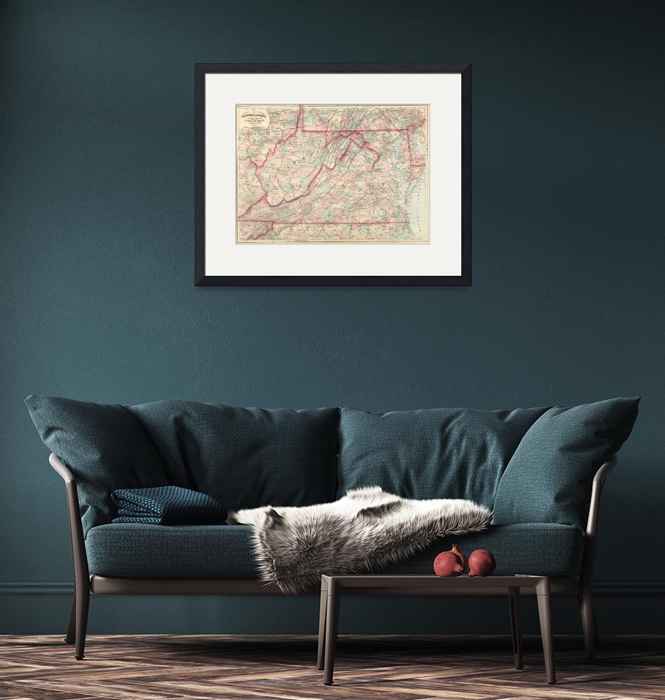 """""""Vintage Map of Virginia and West Virginia (1875)"""" by Alleycatshirts"""