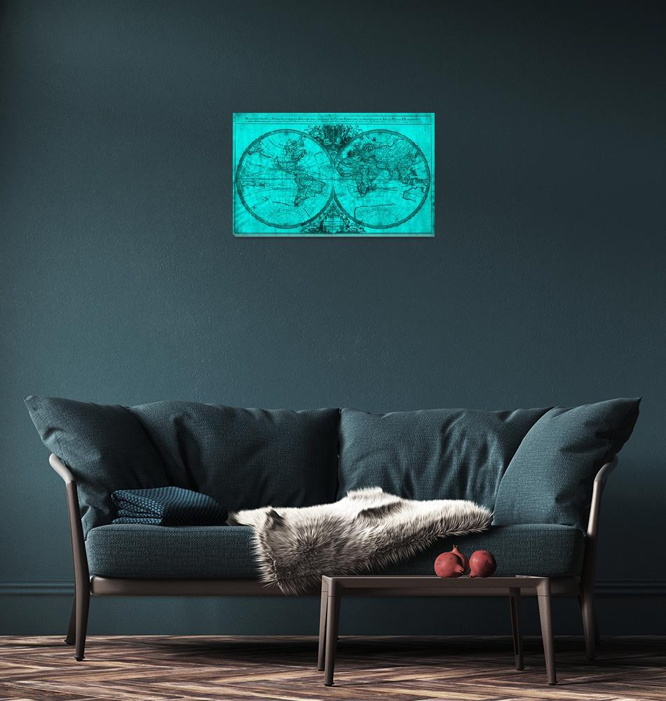 """""""World Map (1691) Turquoise & Black""""  by Alleycatshirts"""