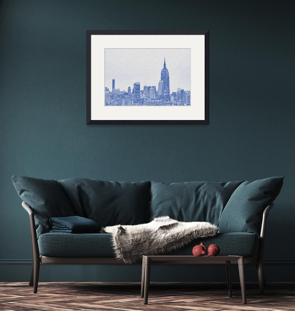 """""""Blueprint drawing of NYC Skyline, New York, United""""  by motionage"""