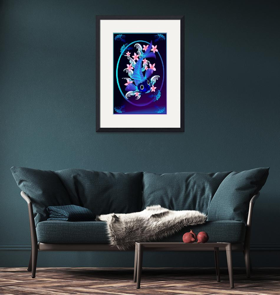 """""""Blue Koi-Pink Flowers Oval""""  by Lotacats"""
