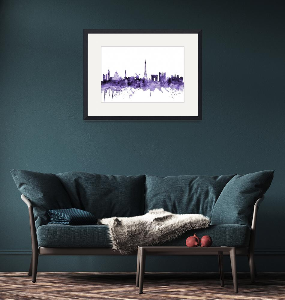 """Paris France Skyline""  (2018) by ModernArtPrints"