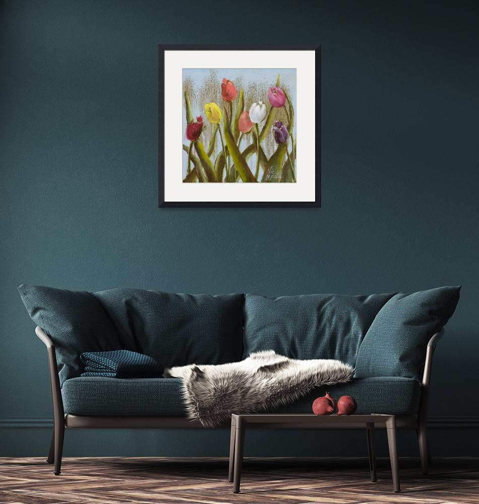"""""""Colorful Tulips with Gold Leaf""""  (2013) by VicMastis"""