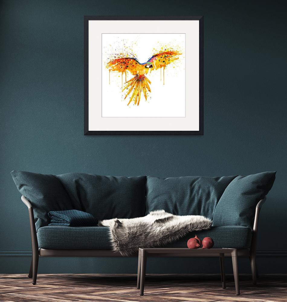 """""""Flying Parrot Watercolor"""" (2015) by MarianVoicu"""