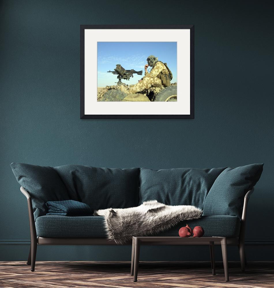"""""""A gunner sits atop a British Army WMIK Land Rover""""  by stocktrekimages"""