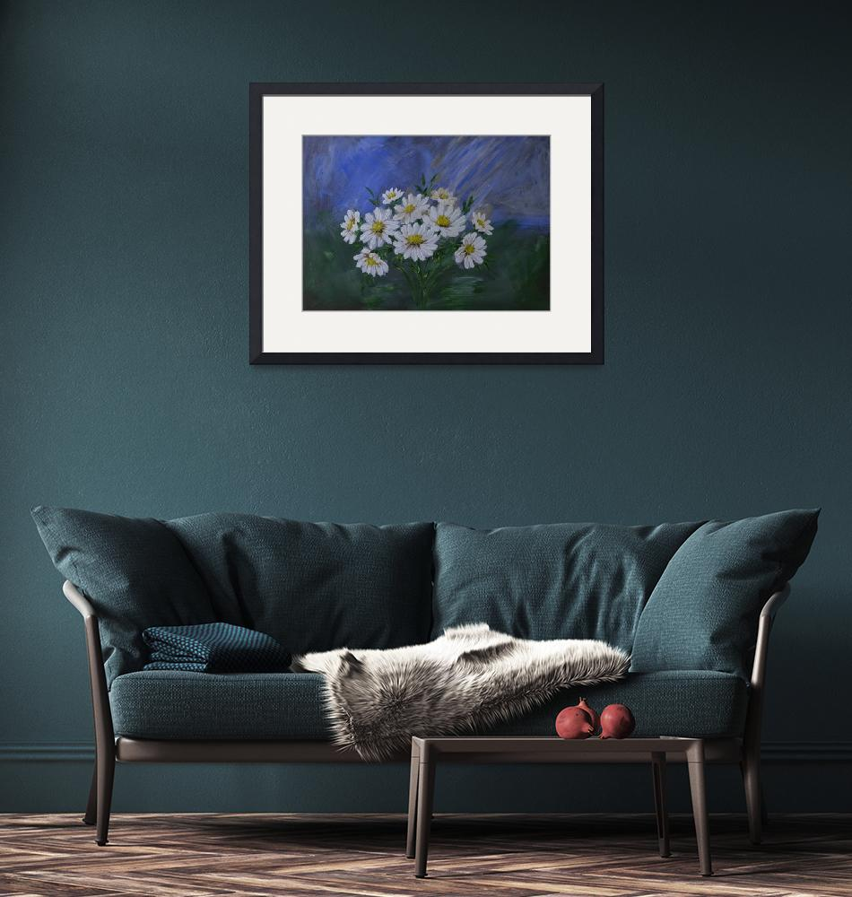 """""""Acrylic Painting of White Daisies""""  (2020) by southafricaphotos"""