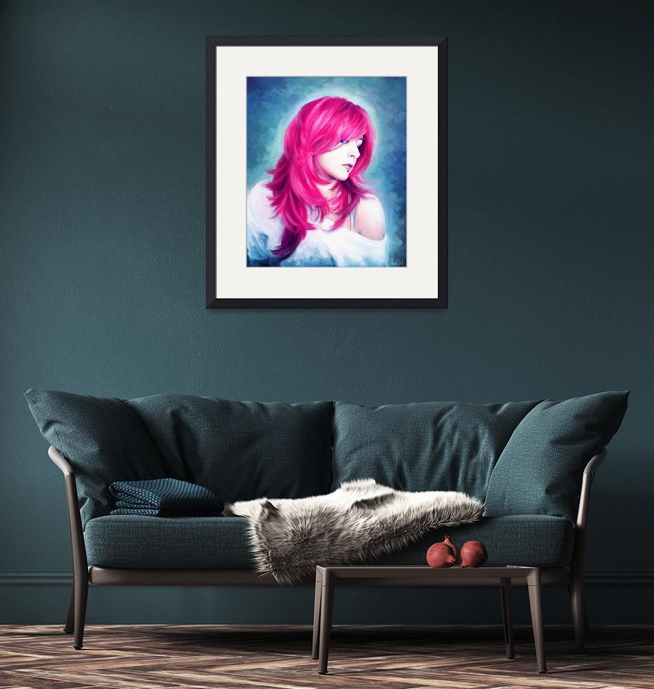 """""""Pink Head sexy lady portrait digital oil painting""""  (2012) by rustydoubleohseven"""