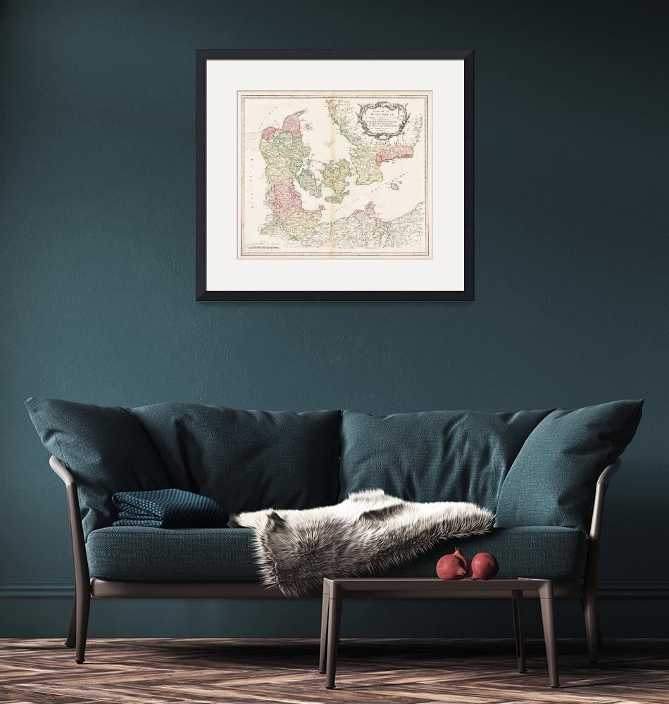 """Vintage Map of Denmark (1750)""  by Alleycatshirts"
