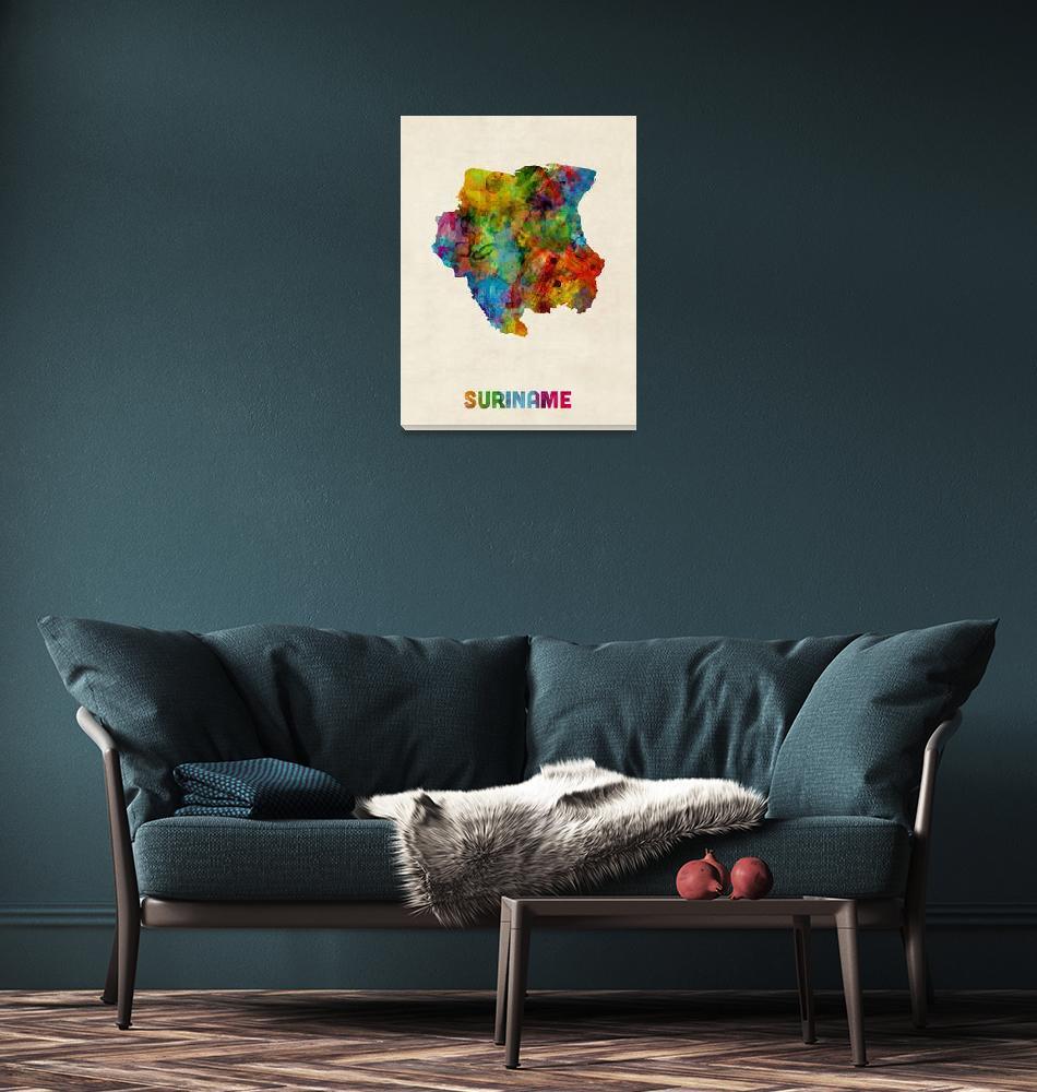 """Suriname Watercolor Map""  (2014) by ModernArtPrints"