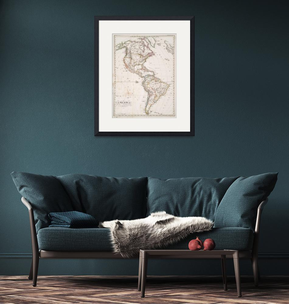 """""""Vintage Map of North and South America (1843)""""  by Alleycatshirts"""