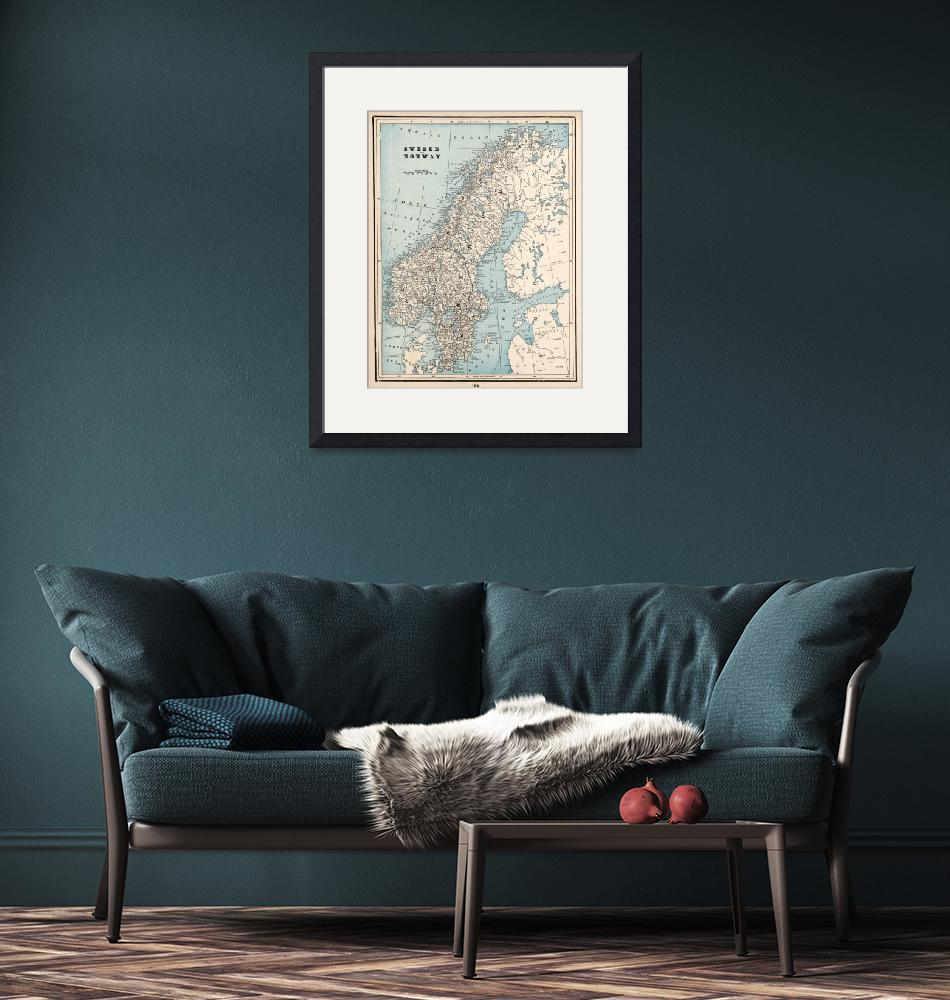 """Vintage Map of Norway and Sweden (1893)""  by Alleycatshirts"