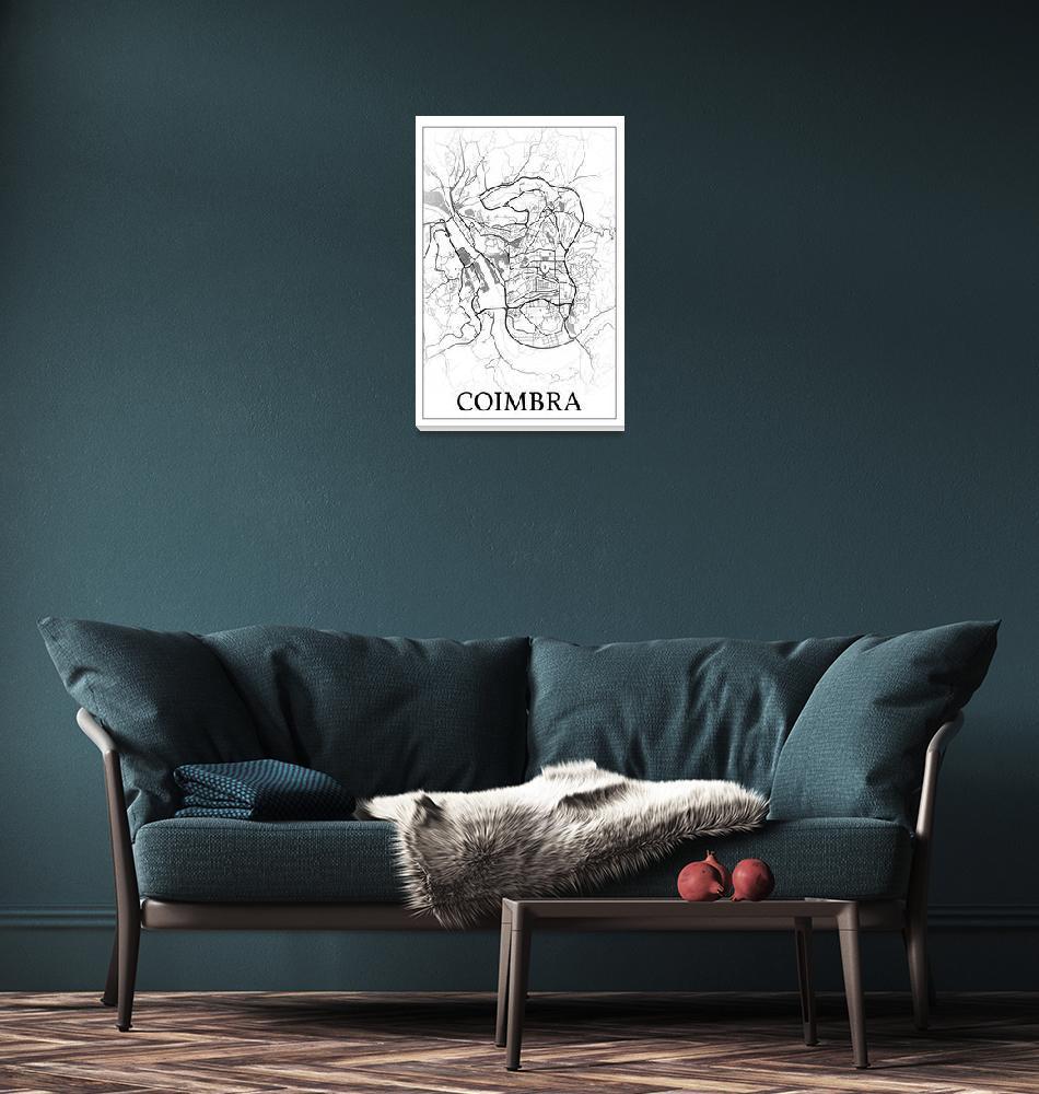 """Coimbra, Portugal, city map print.""  by dandistudio"