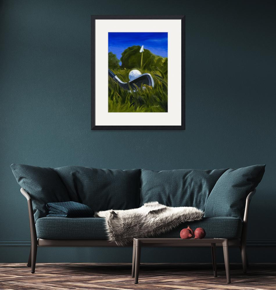 """Keating Golf Iron Approach Shot to Flag Print""  (2007) by KeatingArt"