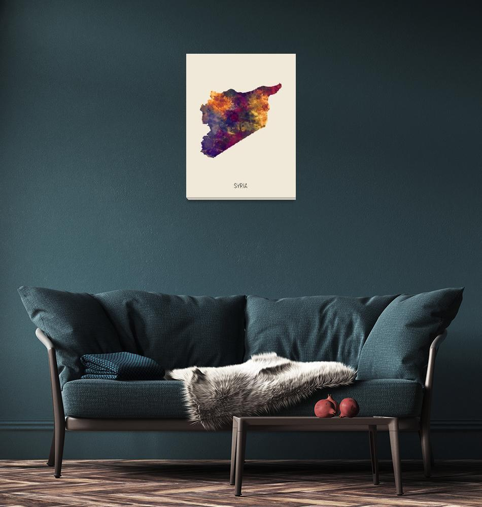 """Syria Watercolor Map""  (2019) by ModernArtPrints"