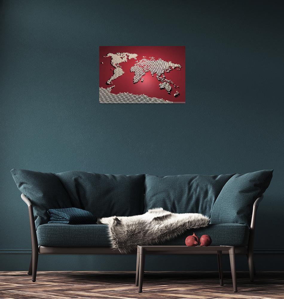"""World Map in Red""  (2011) by ModernArtPrints"