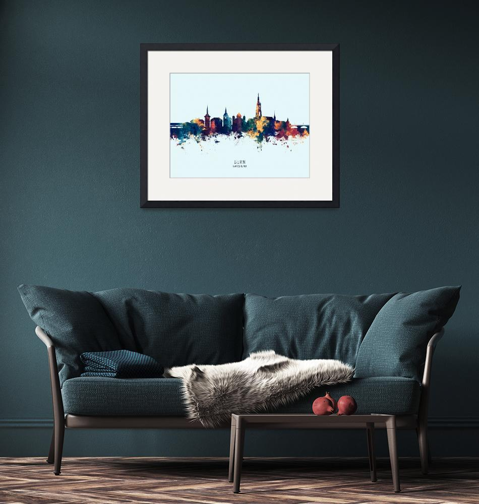 """Bern Switzerland Skyline""  (2019) by ModernArtPrints"