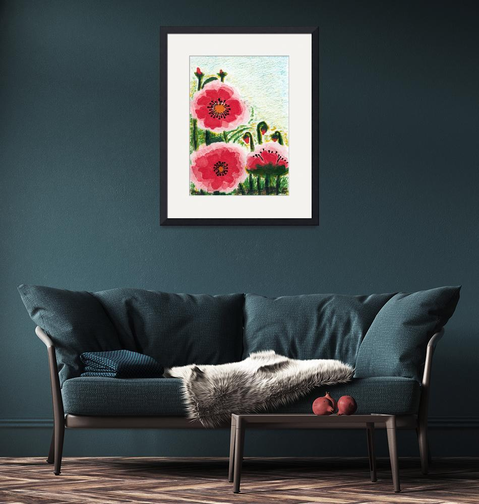 """""""Original Expressive Wild Red and Pink Poppy Field""""  (2014) by Ricardos"""