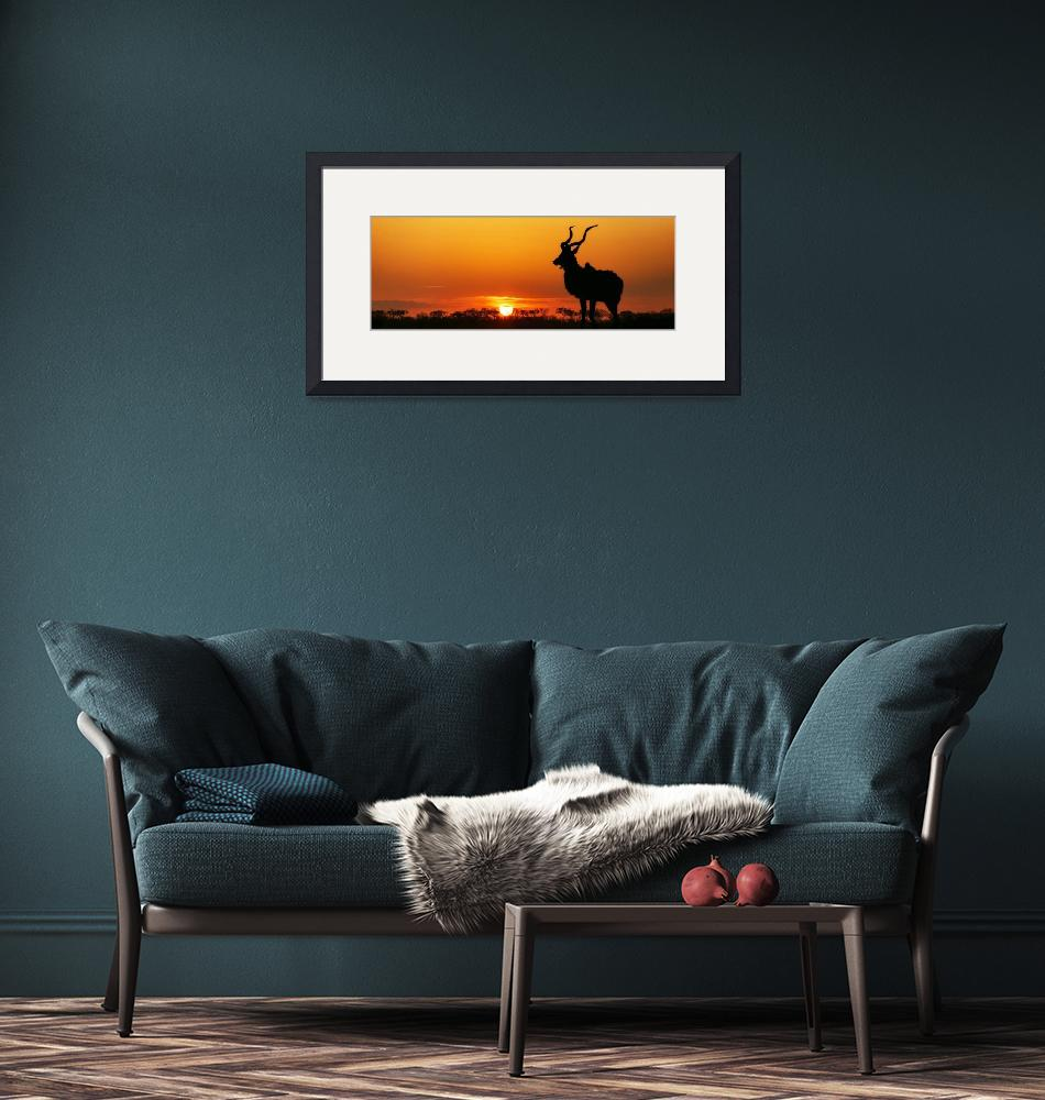 """""""South Africa Sunset Kudu Silhouette""""  (2016) by ADogsLifePhoto"""