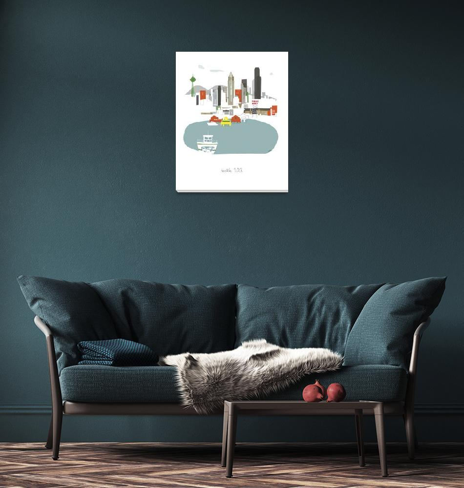 """""""Seattle Modern Cityscape Illustration""""  by AlbieDesigns"""