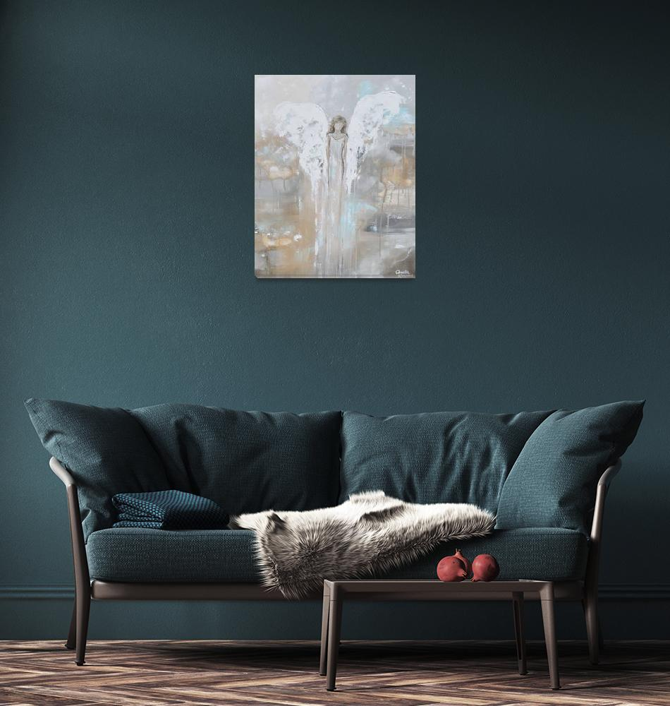 """""""With Courage in Her Heart - Angel Painting""""  by ChristineBell"""