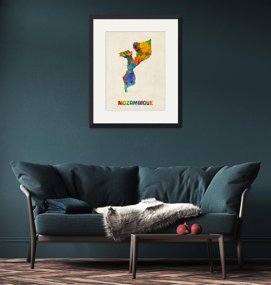 """Mozambique Watercolor Map""  (2016) by ModernArtPrints"