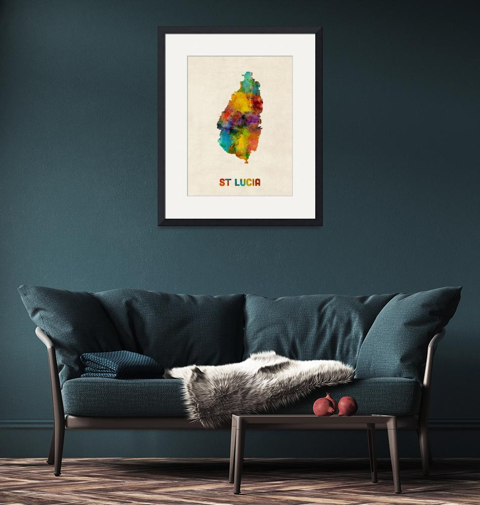"""St Lucia Watercolor Map""  (2016) by ModernArtPrints"