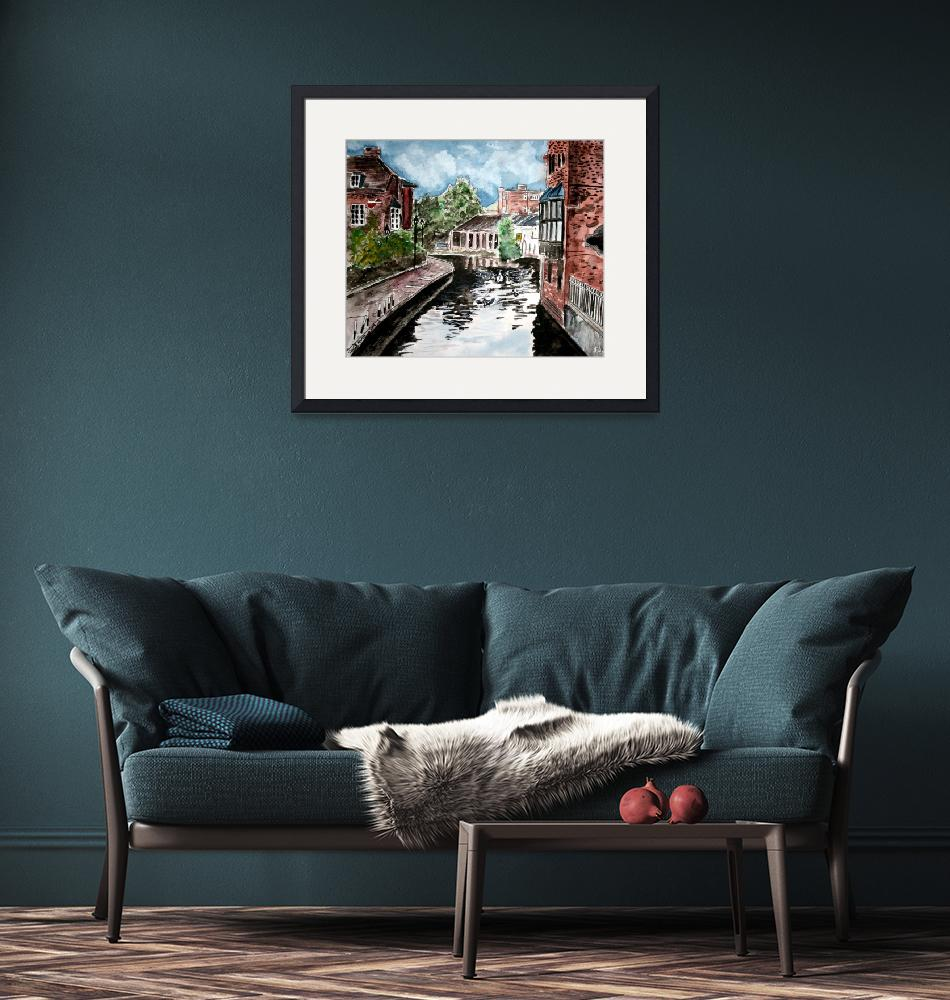 """""""england river canal large cityscape painting""""  (2009) by derekmccrea"""