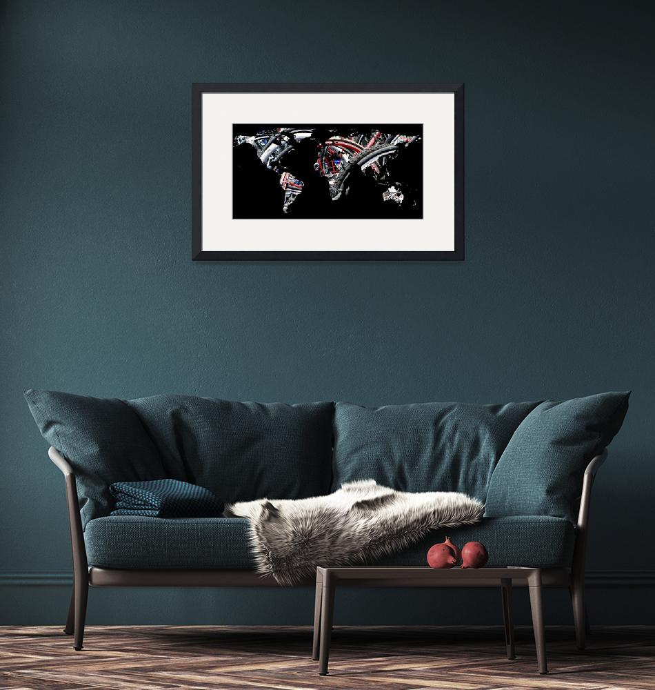 """""""World Map Silhouette - Bike Tires""""  by Alleycatshirts"""