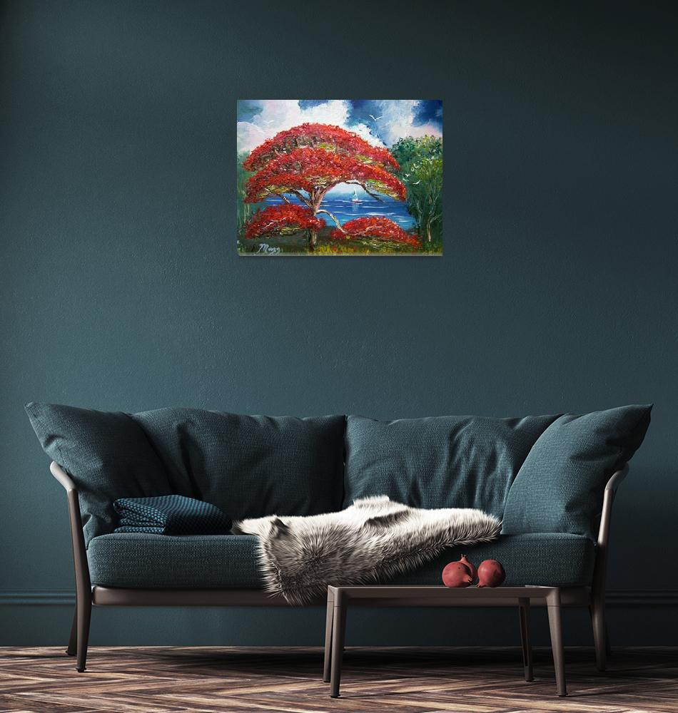 """Red Royal Poinciana Tree and Sailboat""  (2014) by mazz"