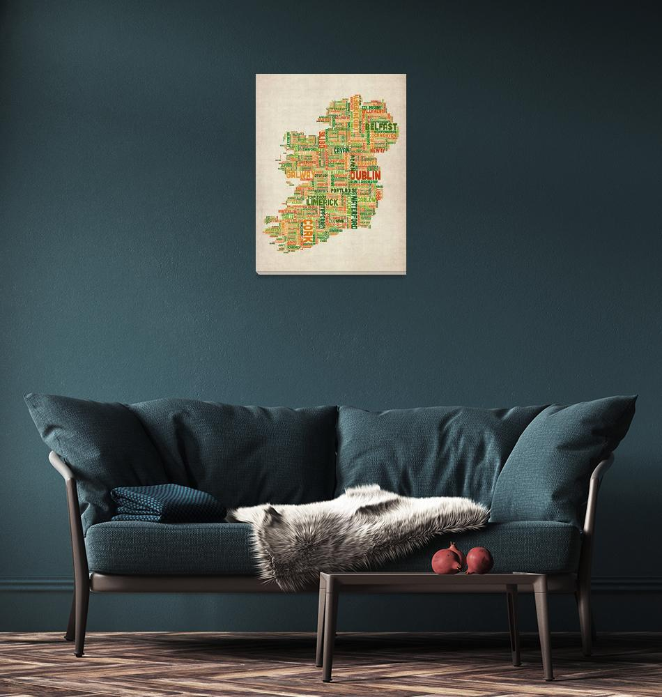 """Ireland Eire City Text Map""  (2012) by ModernArtPrints"