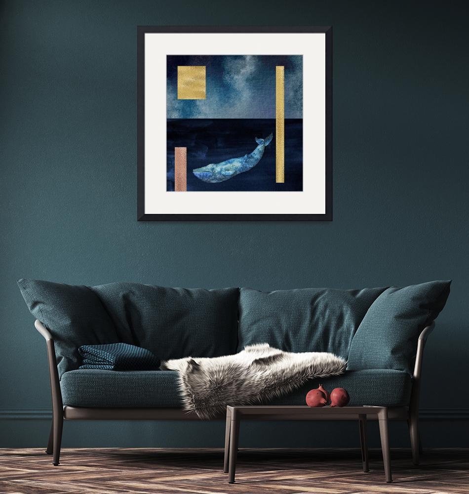 """""""Blue Whale: Gold, Copper And Deep Blue""""  by fineartgallery"""