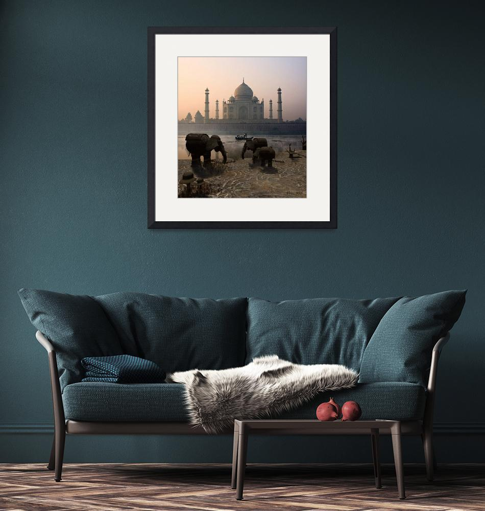 """Iron Elephants Overlooking Taj mahal""  (2013) by Artaiza"