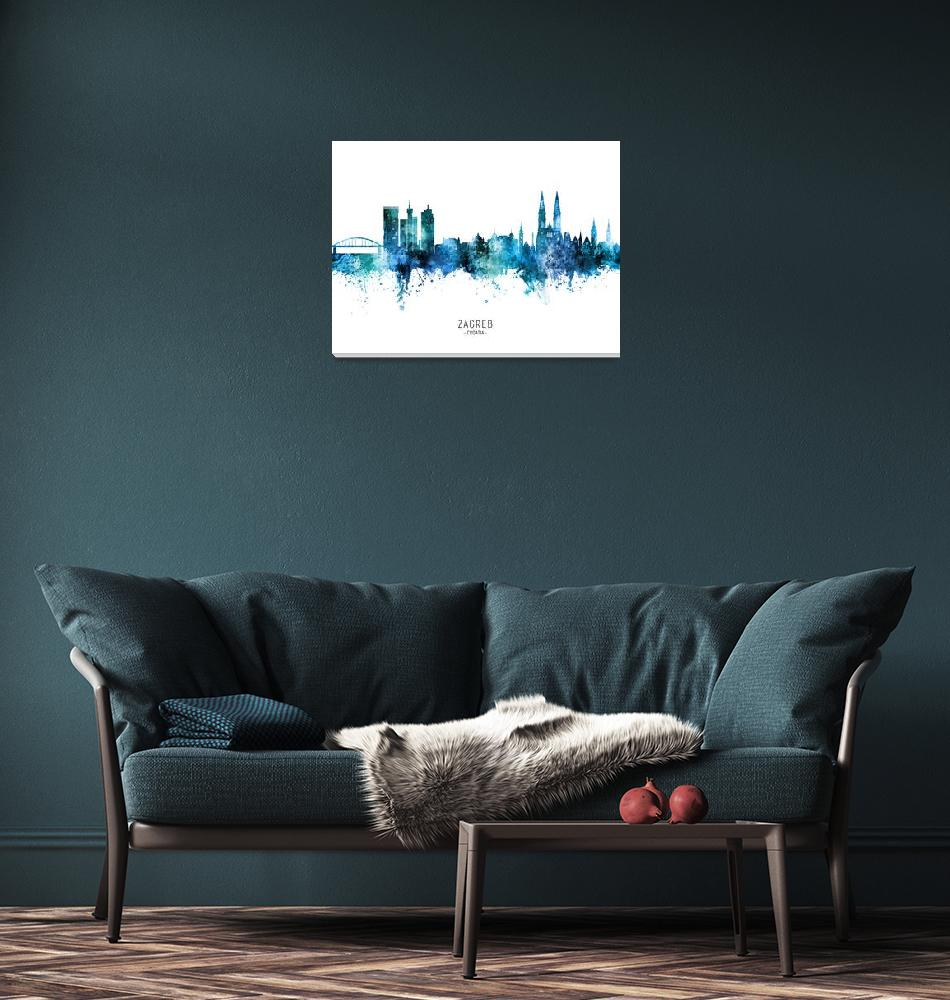 """Zagreb Croatia Skyline""  (2020) by ModernArtPrints"