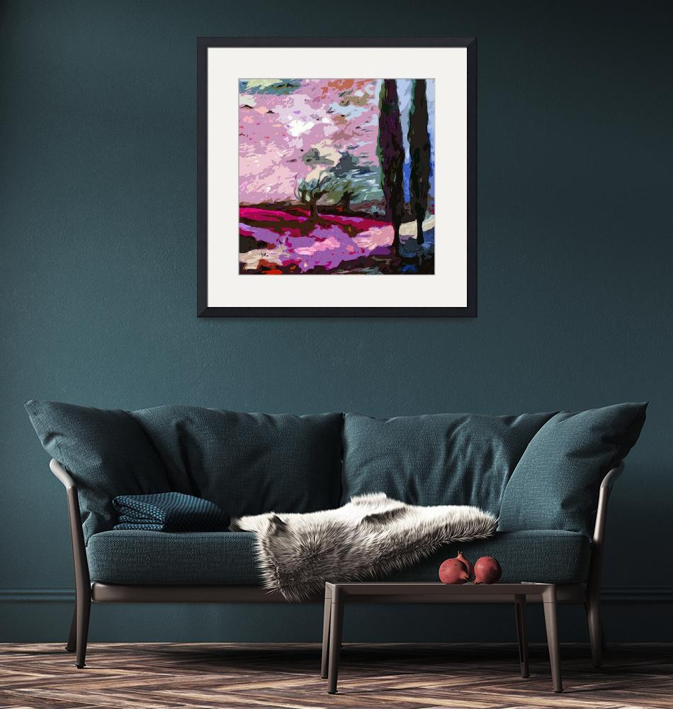"""""""Abstract Landscape Cypress Trees Lavender""""  (2012) by GinetteCallaway"""