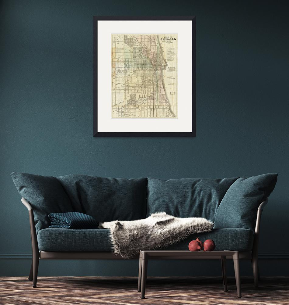 """""""Vintage Map of Chicago (1857)"""" by Alleycatshirts"""