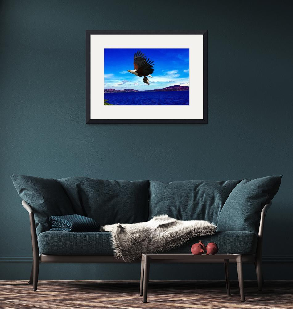 """""""African Fish Eagle Over Lake Victoria""""  (2018) by JosephWallArt"""