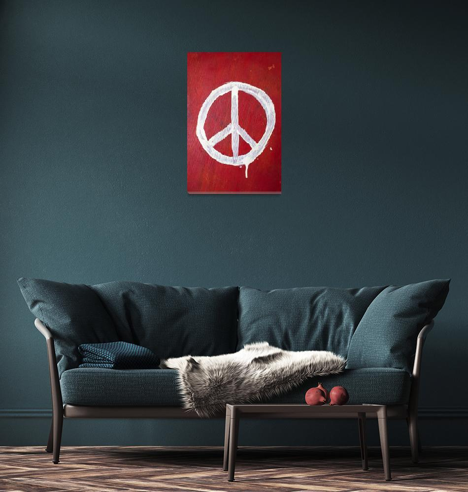 """""""Peace sign on red wooden wall""""  (2012) by photogarry"""