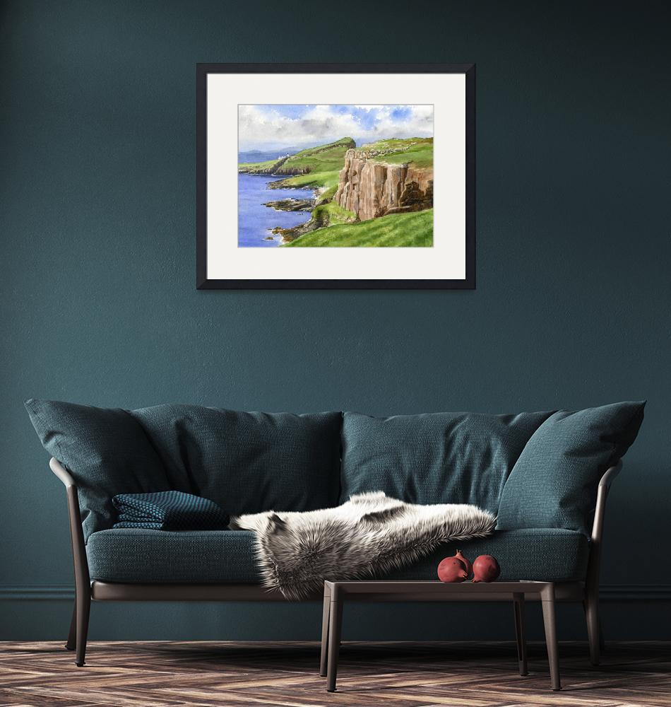 """""""Coastal Cliffs Scotland""""  (2017) by Pacific-NW-Watercolors"""