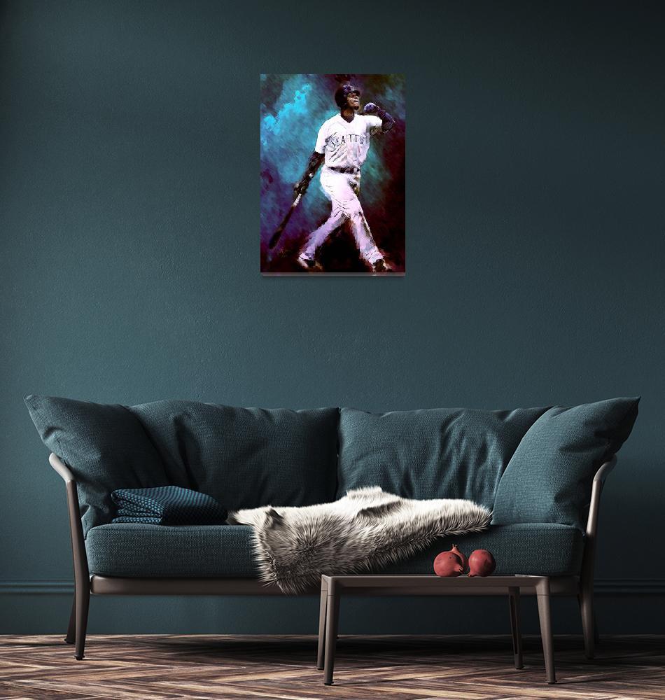 """""""Ken Griffey, Jr. Seattle Mariners, Sweet Swing, ar""""  (2012) by artofvela"""