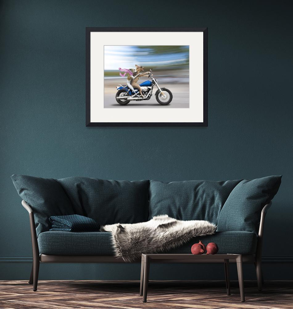 """""""Biker Dogs Riding a Harley""""  (2010) by johnlund"""