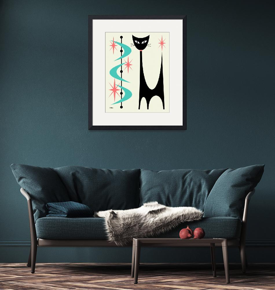 """""""Atomic Cat aqua and pink on cream"""" by DMibus"""