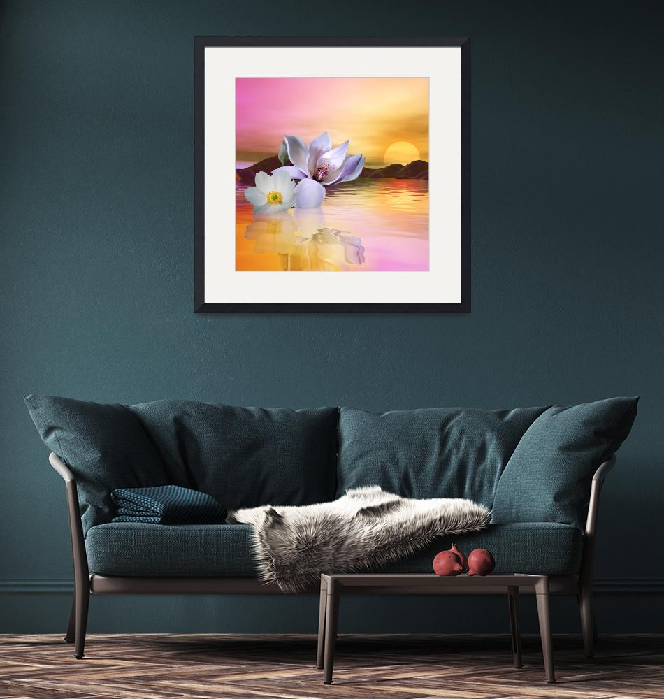"""""""Floating Anemone and Magnolia""""  (2019) by AnneVis"""