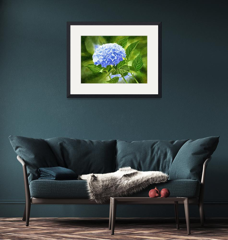 """Blue Hydrangea Blossom with Background""  (2016) by Pacific-NW-Watercolors"