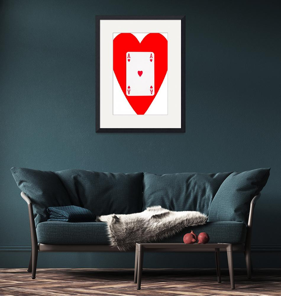 """""""Playing Cards Ace of Hearts on White Background""""  by NatalieKinnear"""