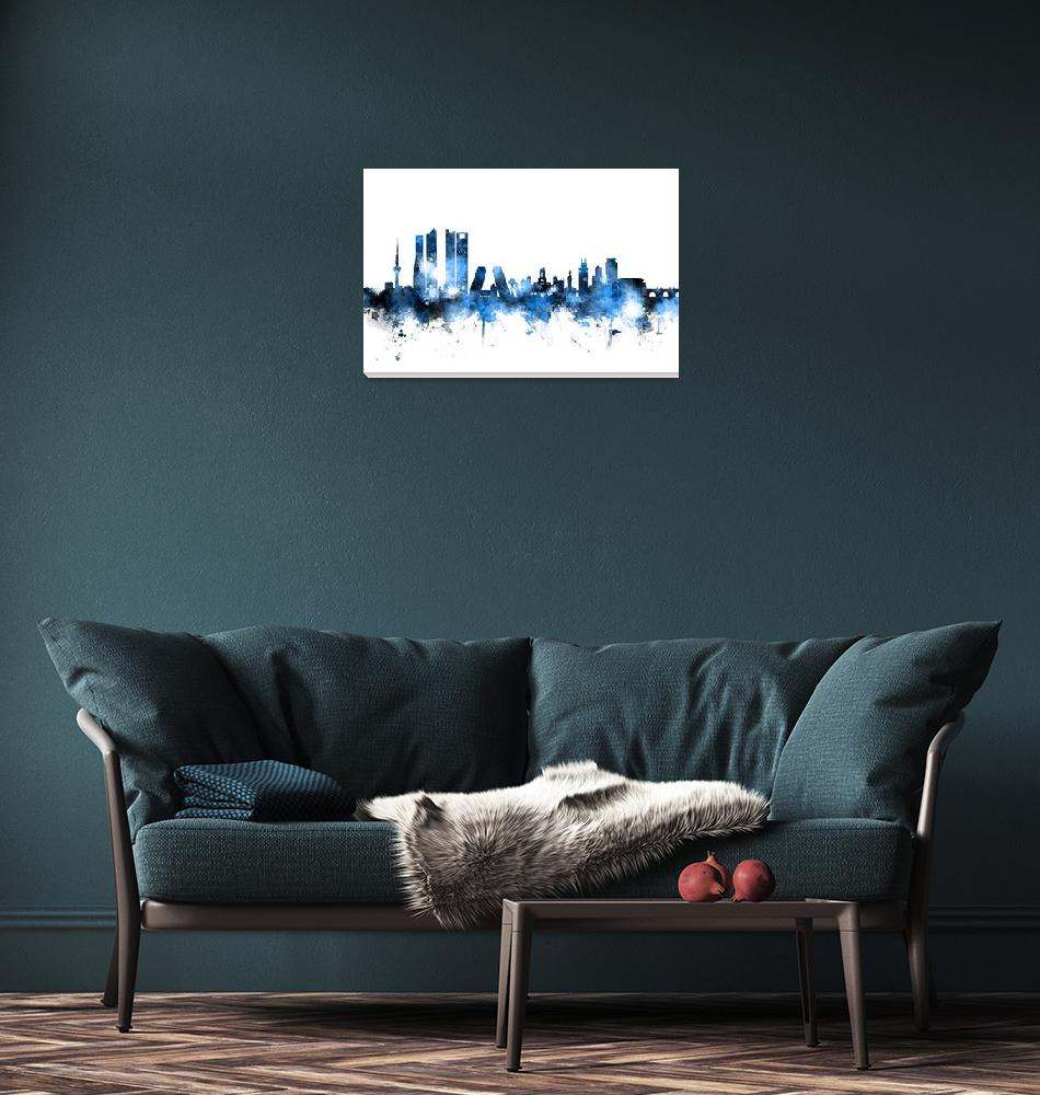 """Madrid Spain Skyline""  (2016) by ModernArtPrints"