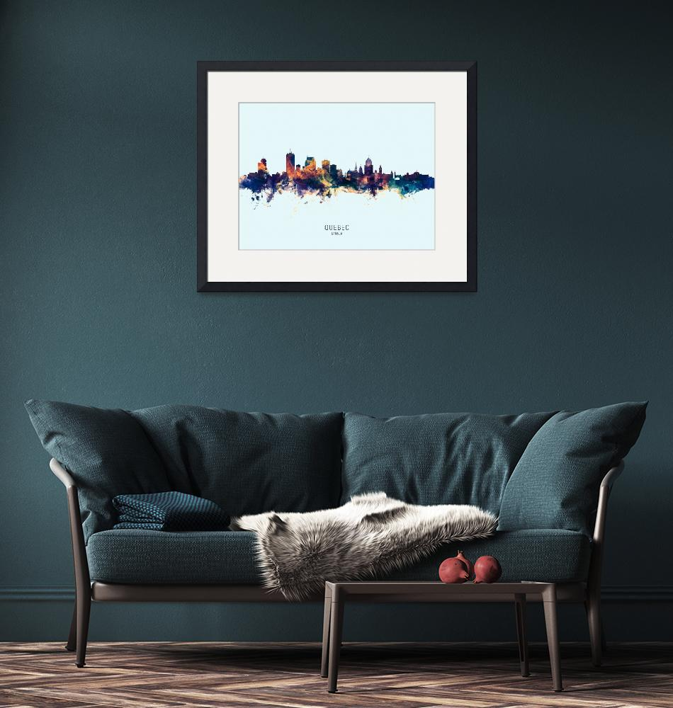 """Quebec Canada Skyline""  (2019) by ModernArtPrints"