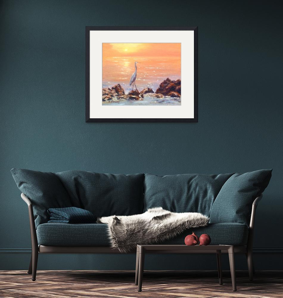 """Blue Heron at Sunset Sea""  (2011) by KimStenbergFineArt"